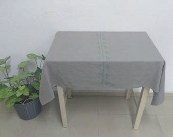 Gray Tablecloth Linen Tablecloth Christmas Gift Table cloth Gifts For Grandma Personalized Linen