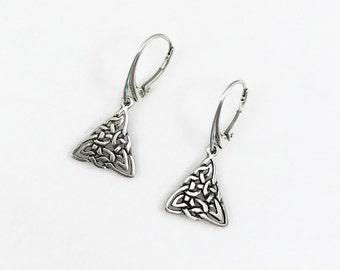 Sterling Silver Celtic Triangle Earrings