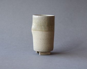 Footed Thumb Cup - Ash Glaze