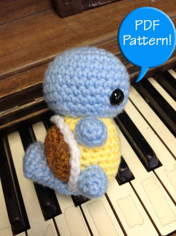 PDF PATTERN for Crochet Squirtle Amigurumi doll toy plushie