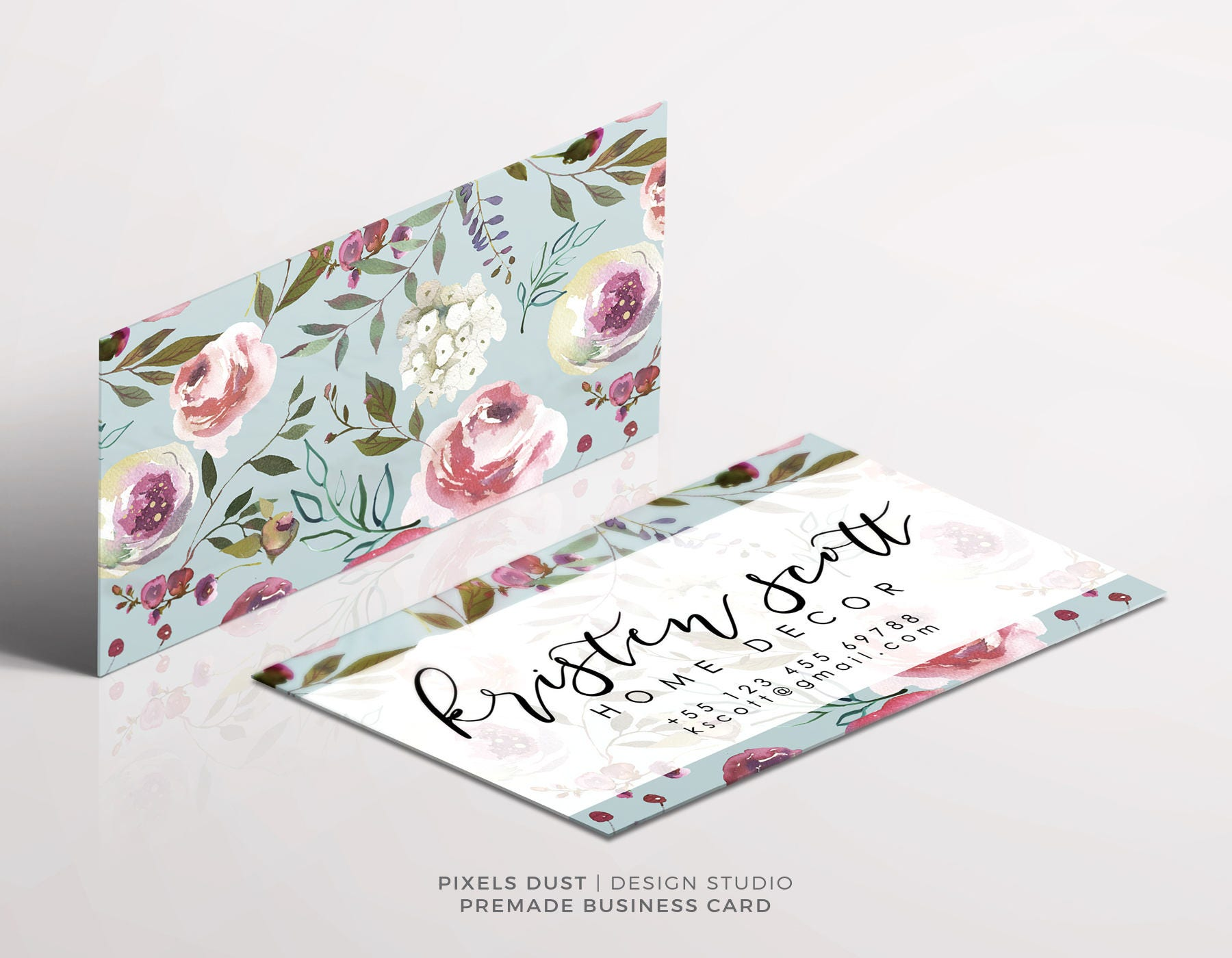 Premade Business Card Template Business Card Design Floral