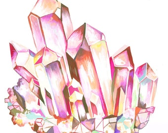 Quartz art print | Watercolor gemstone | Katie Daisy Wall Art |