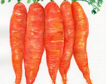 Original Carrots watercolor painting  vegetables 8 x 10 original watercolor painting bunch  carrots, Farmhouse kitchen decor, OOAK
