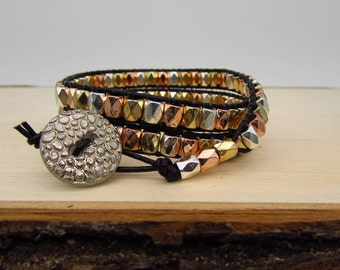 Wrap Bracelet - 6 3/4 inch (Small) - Mixed Metal Beads on Black Leather