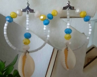 Bohemian sea shell dangle earrings