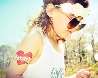dad heart tattoo father's day gift from daughter fake tattoos daddy's girl children temporary tattoo dressup photography photoshoot prop