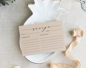 Recipe Card Template, Recipe Cards, Printable Recipe Cards | JPG