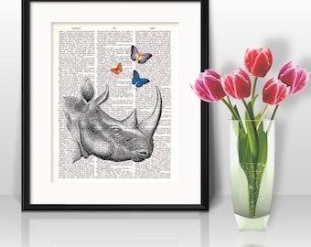 Rhinoceros Watercolor Print, Rhinoceros Art, Rhinoceros Painting, Animal Art, Rhino, Nursery, Kids Room Decor, Wall Art