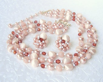 Vintage 3 Strand Beaded Necklace Cluster Clip Earrings Parure Set Blooming Dahlia Peach Satin Root Beer Faux Pearl Crystal Chunky 50s JAPAN