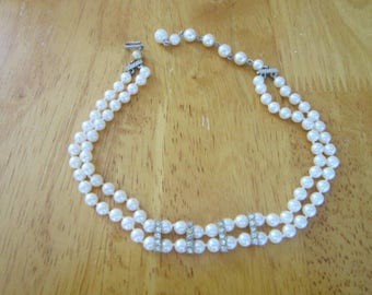 Vintage Faux Pearl & Rhinestone Double Strand Necklace