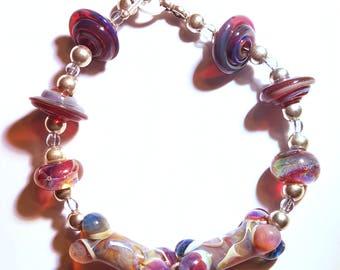 AJs Sterling Silver Borosilicate Boro Glass Lampwork Dog Lover Bracelet