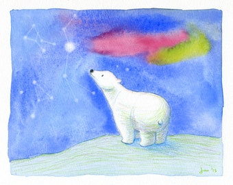 ORIGINAL Polar Bear - Mixed Media Painting