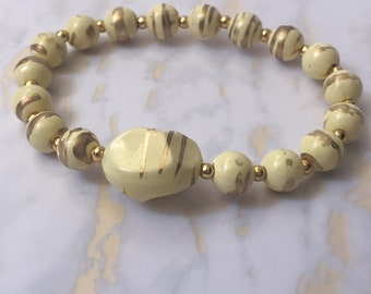 Painted Vintage Beads Stretchy Bracelet/ Gold Color Beads / beige / yellow
