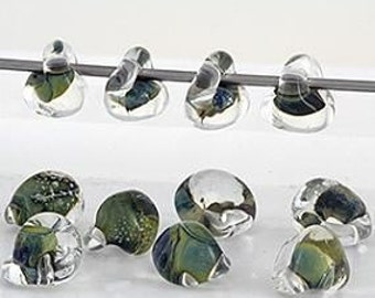 10 Olive Green Teardrop Handmade Lampwork Beads - 10mm (21080)