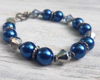 Cobalt Blue Glass Pearl Bracelet.   Reflective glass beads and Tibetan Silver.    JemstoneZ bracelet.