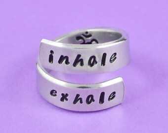 Inhale Exhale Ring, Hand Stamped  Wrap Spiral Ring, Om Symbol Ring. Yoga Inspired Ring