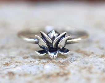 Sterling Silver Ring Sterling Silver Lotus Ring Silver Stacking Ring Sterling Silver Stacking Rings Lotus Flower Ring Yoga Ring Yoga Jewelry