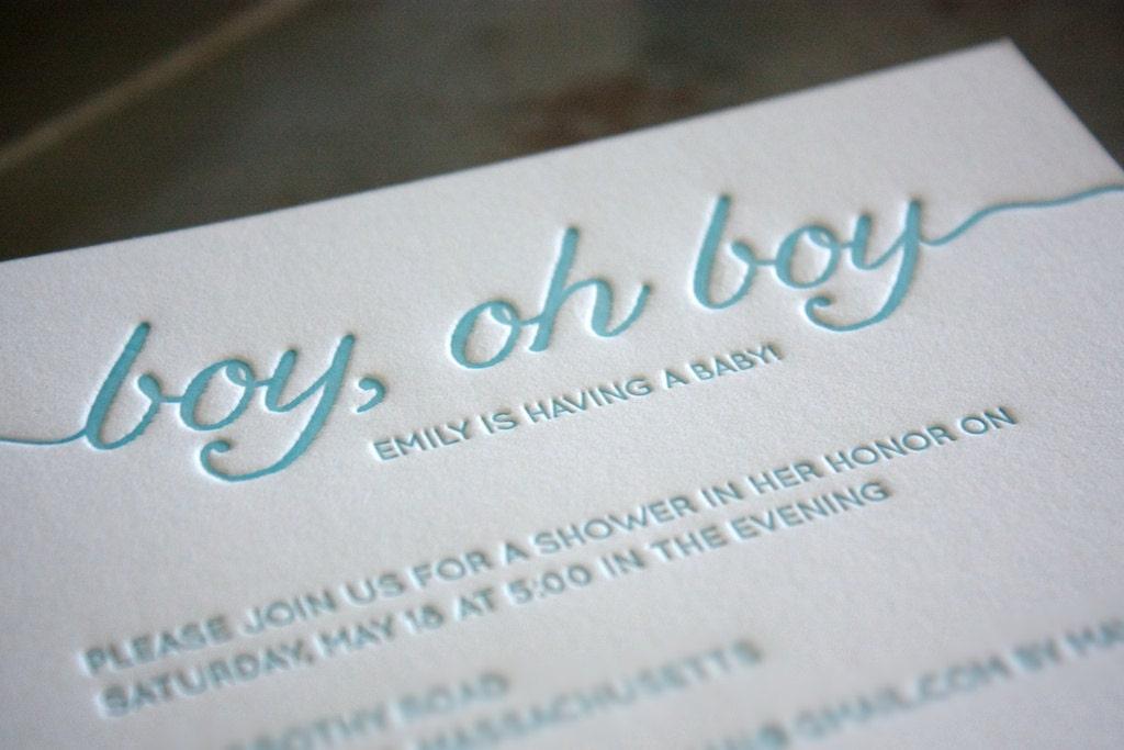 Letterpress Boy Oh Boy Baby Shower Invitations blue baby