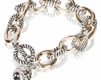 Two-Tone Link Bracelet with Silver Golf Ball Charm