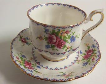 Royal Albert Bone China England Petite Point Tea Cup and Saucer
