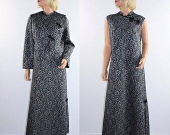 Vintage 70's Silver Metallic Black Disco Formal Gown Maxi Prom Dress Jacket M/L