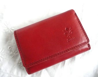 Vintage leather wallet - red leather wallet - leather organizer - leather wallet and coin purse - red leather coin purse