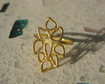 Gold-Plated Intricate Lace Ring