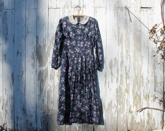 1980s long sleeve floor length dress, blue floral with purple white green, round lace collar, Laura Ashley, great britian, 8, medium, maxi