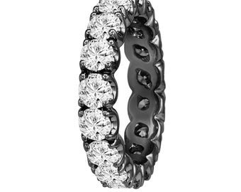 2 Carat Diamond Eternity Wedding Band, Diamond Eternity Ring, Anniversary Ring, 14K Black Gold Vintage Style Handmade Certified