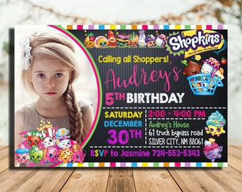 Shopkins Birthday Invitation, Shopkins Invitation, Shopkins Birthday Party, Shopkins Birthday, Shopkins Invitation With Photo,Shopkins Party