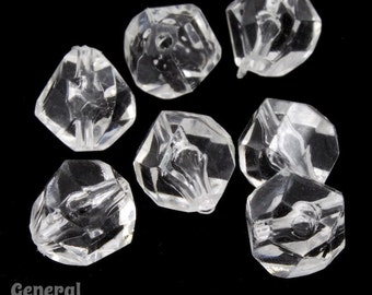9mm Vintage Lucite Clear Faceted Swirl Bead (12 Pcs) #3599