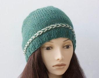 Wool Knit Hat, Custom Choose Color, Hand Knit  Hat,  Winter Hat, Women's Beanie Hat, Warm Cap
