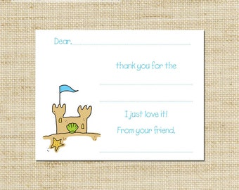 Kids Thank You Notes - Beach Sand Castle  Fill In Thank You Cards - cards & envelopes FREE SHIPPING