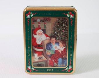 Vintage 1993 Oreo Christmas Cookie Tin - Santa Claus Cookie Tin