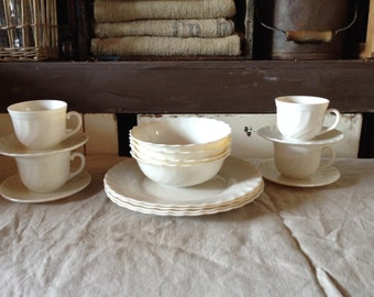 Vintage Acropal French Milk Glass China Four Place Setting  1940s