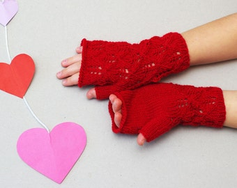 Kids red fingerless gloves, knit lace gloves, red wool mittens, fingerless mittens, gloves kids 7T-10T, kids knitted mittens, hand warmers