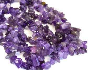 """ON SALE- Natural amethyst Uneven Nugget Chips 33"""" Strand, Wholesale Lot Loose Beads"""
