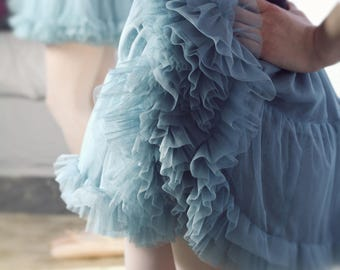 Dusky BLUE tulle TUTU - 50s petticoat underskirt frilly ballerina ROMANTIC wedding Bridesmaid Flowergirl Steampunk Fairy Retro