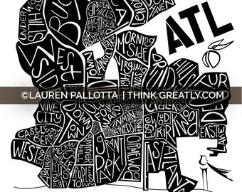 12x12 ATL NEIGHBORHOOD PRINTS - Typographic - Atlanta - Georgia - Buckhead - Inman Park - Decatur - Local -  Neighborhood - Map
