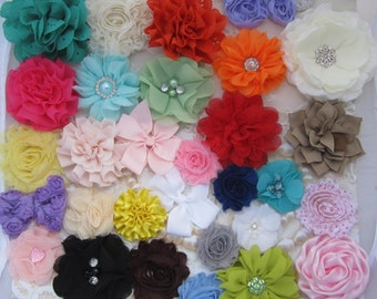 ELASTIC and FLOWERS - Combo Pack for DIY Headbands and Clips includes 24 flowers plus 24 pieces of elastic