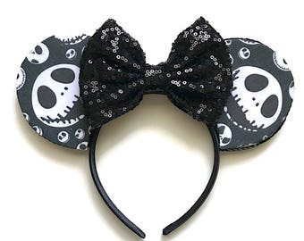 Halloween Jack Skellington Inspired Mouse Ears The Nightmare Before Christmas Inspired Mouse Ears