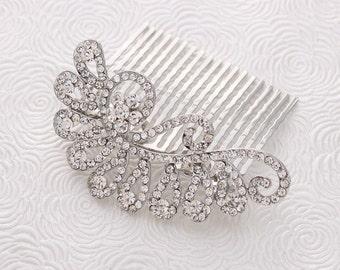 Bridal Hair Comb, Crystal Silver Wedding Hair Piece, Rhinestone Hair Clip, Wedding Hair Accessories, Bridal Headpiece