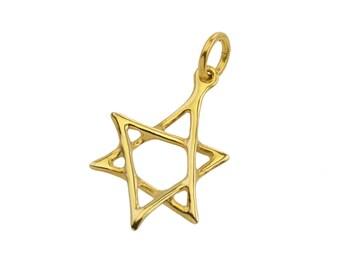 Scrawled 14k Gold Star of David Pendant