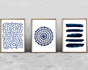 Set of 3 Abstract Watercolor Prints Indigo Blue art Navy Wall art Stripes Dots Coastal Decor Boho Minimalist art Blue Paintings Modern art
