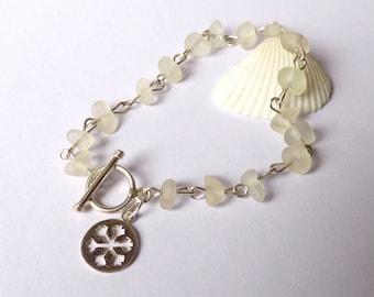 Sea Glass Bracelet, Silver Snowflake, Seaglass Jewellery, Sea Glass Jewelry, Sterling Silver, Snow Flake Charm, White Sea Glass, B170080