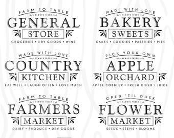 SVG / DXF - FARMHOUSE Bundle: General Store, Country Kitchen, Farmers Market, Bakery Sweets, Apple Orchard, Flower Market - Instant Download