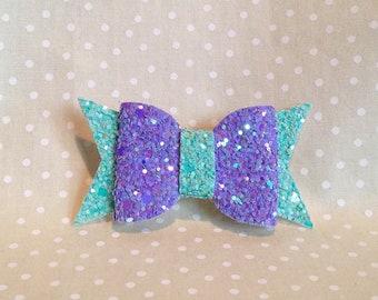 Lilac and Aqua Glitter Fun Collar Bow
