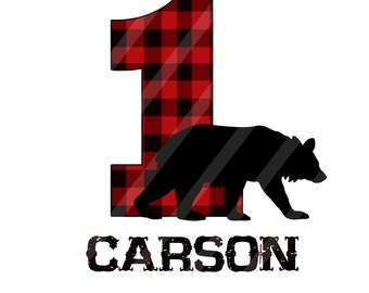 Lumberjack Black Bear Birthday Number Personalized Digital Download for iron-ons, heat transfer, Scrapbooking, Cards, Tags, DIY, YOU PRINT