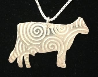 Dairy Cow Necklace in Sterling Silver with 18 inch box link chain for 4H, FFA and people who love their cows Livestock Jewelry