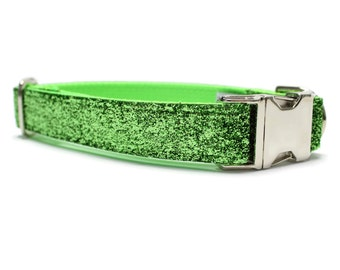 Lime Green Glitter Dog Collar |Your choice of metal buckle or plastic buckle| Glitter Dog Collar| Green Dog Collar | Holiday Dog Collar